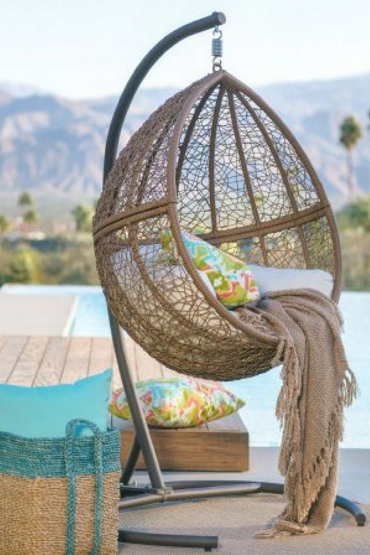Island Bay Tanna Tear Drop Resin Wicker Egg Chair with