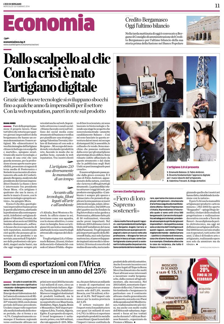 """Articolo de L'Eco di Bergamo 26.02.2014 che ha parlato di Sostanza come team di """"artigiani digitali"""". #webdesign #diconodinoi"""