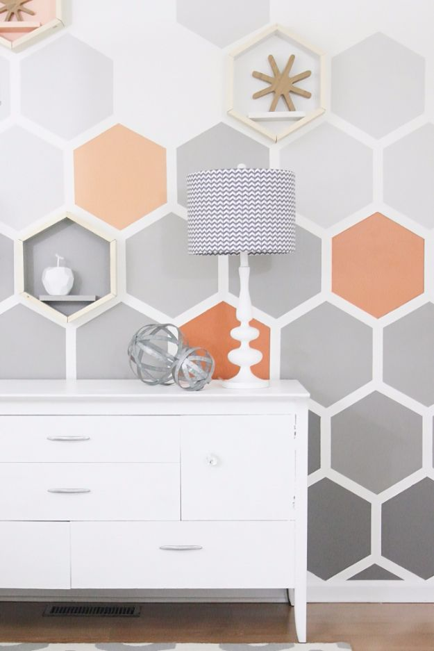 DIY Ideas for Painting Walls - DIY Ombre Hexagon Wall - Cool Ways To Paint Walls - Techniques, Tips, Stencils, Tutorials, Fun Colors and Creative Designs for Living Room, Bedroom, Kids Room, Bathroom and Kitchen http://diyprojectsforteens.com/cool-ways-to-paint-walls