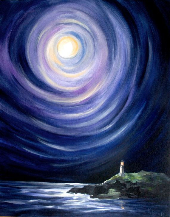 Moon and a Lighthouse, Landscape Painting - 16x20 Stretched Canvas Giclee (scheduled via http://www.tailwindapp.com?utm_source=pinterest&utm_medium=twpin&utm_content=post252627&utm_campaign=scheduler_attribution)