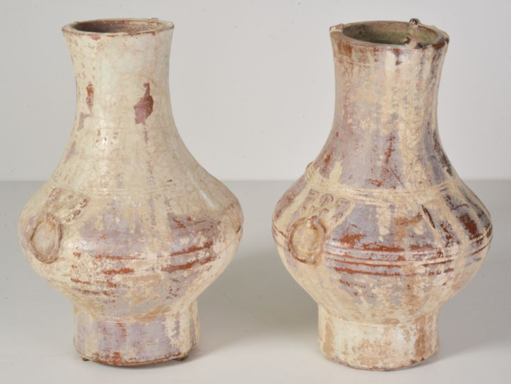 Pair of Chinese Han Dynasty Glazed Terracotta Hu Jars - Wall - Greedfineart.com
