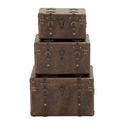 Woodland Imports 56821 Customary Styled Wood and Leather Cases (set of 3)