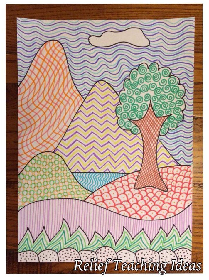 Simple Line Art Lessons : Art lesson plans texture high school d
