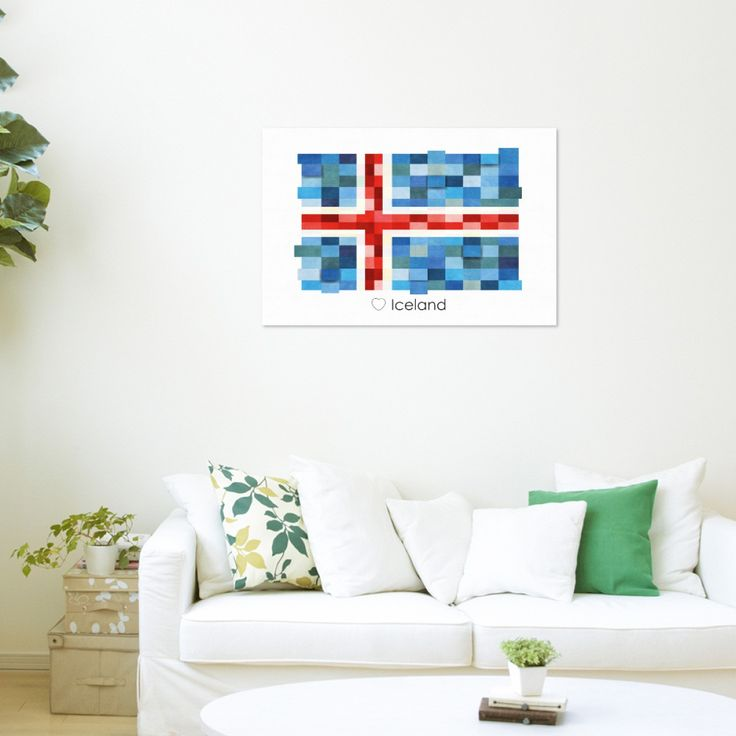 Poster Print Wall art Iceland Flag Europe
