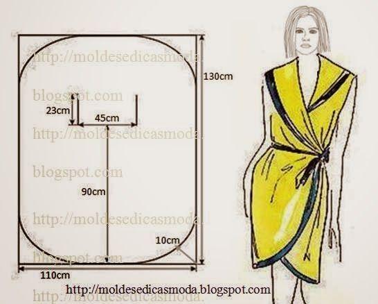 Este modelo pode ser adaptado conforme a escolha do tecido a robe, bata ou vestido. As medidas que coloco dão para o tamanho m/l. Caso queiram um tamanho m