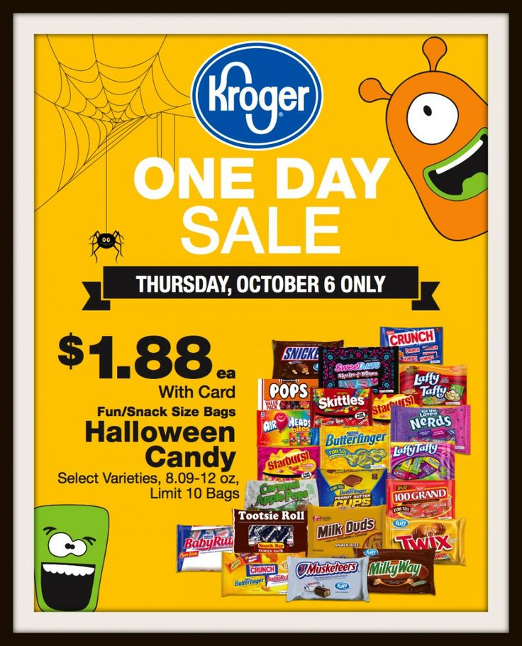 One Day $1.88 Halloween Candy Sale = October 6th at Kroger (Regional)!!