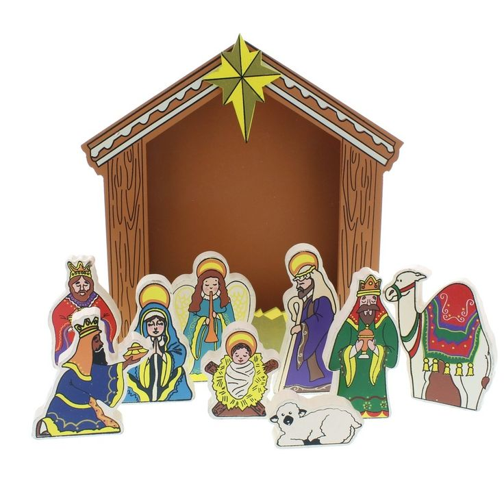 wooden nativity u2013 10 piece set - Wooden Nativity Set