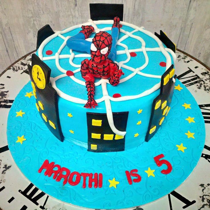 This is single tier spiderman cake. Happy Birthday Marothi