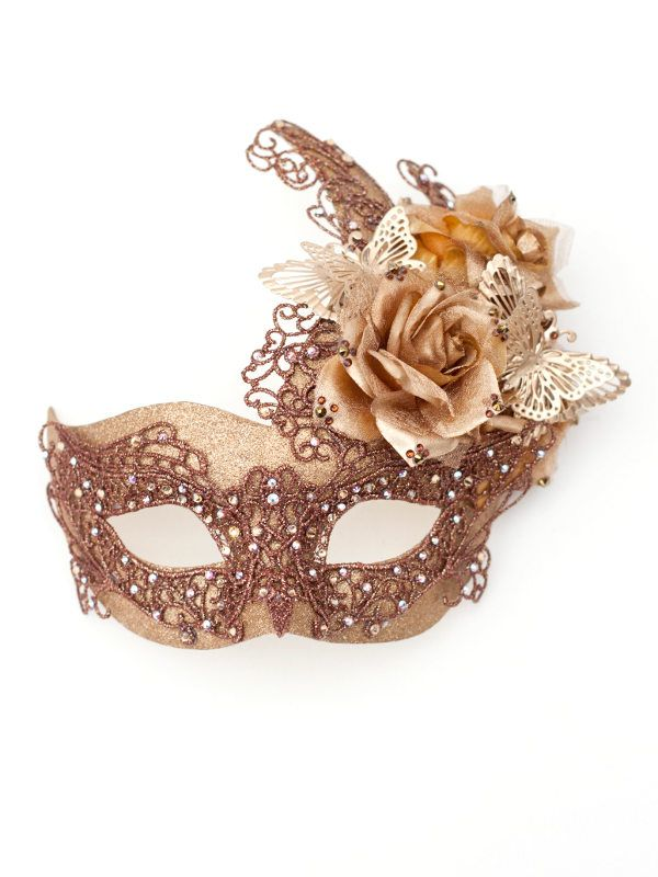 Unique-Bronze-Gold-Venetian-Butterfly-Lace-Masquerade-Mask.jpg (600×800)
