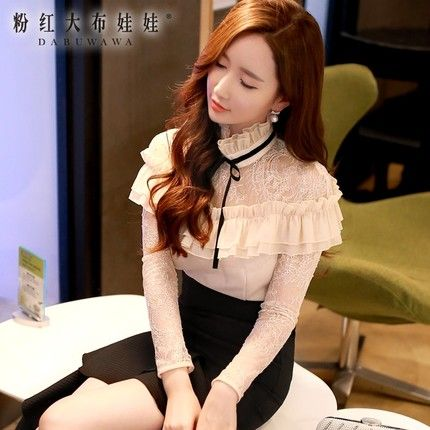 dabuwawa 2016 spring and autumn slim vintage women blouse shirt pink doll US $57.00 /piece To Buy Or See Another Product Click On This Link  http://goo.gl/IdJFhm