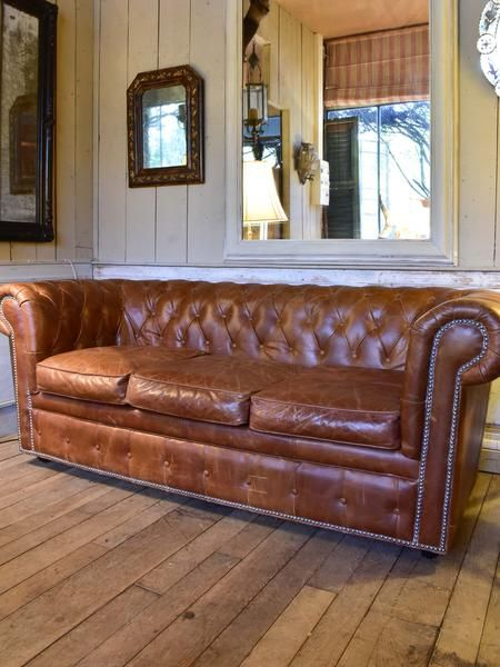 Leather Chesterfield Three Seat Sofa From The 1940u0027s