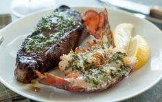 Decadent and filling, this classic surf-and-turf combination features dry-aged beef alongside juicy lobster tails, all topped with homemade herb butter. We split the lobster tails in half for easy and elegant serving after they're cooked.