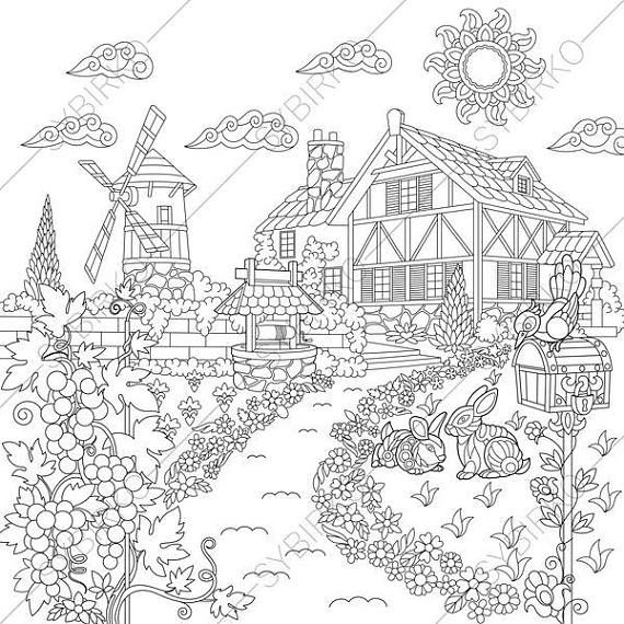 Pin On Landscapes Houses Buildings Coloring Images 3