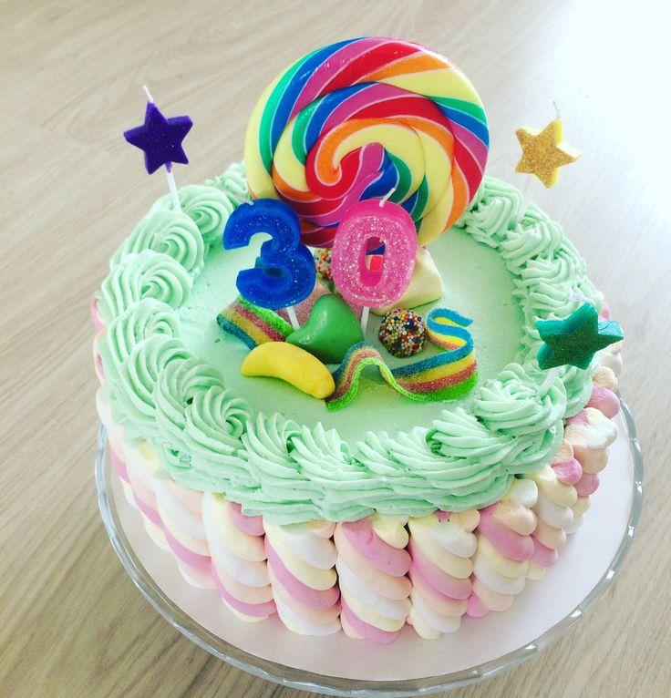 Kleurrijke verjaardagstaart met snoep! Candycake for birthday!