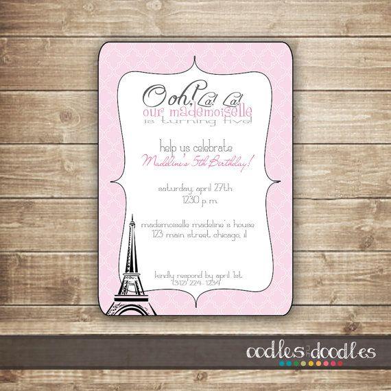 French Themed Birthday Invitation / Pink & Black Birthday by OandD, $15.00