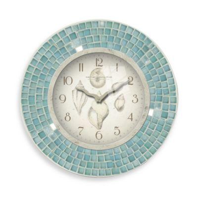 Blue mosaic 11 1 2 inch seashell clock bedbathandbeyond for Seashell clock