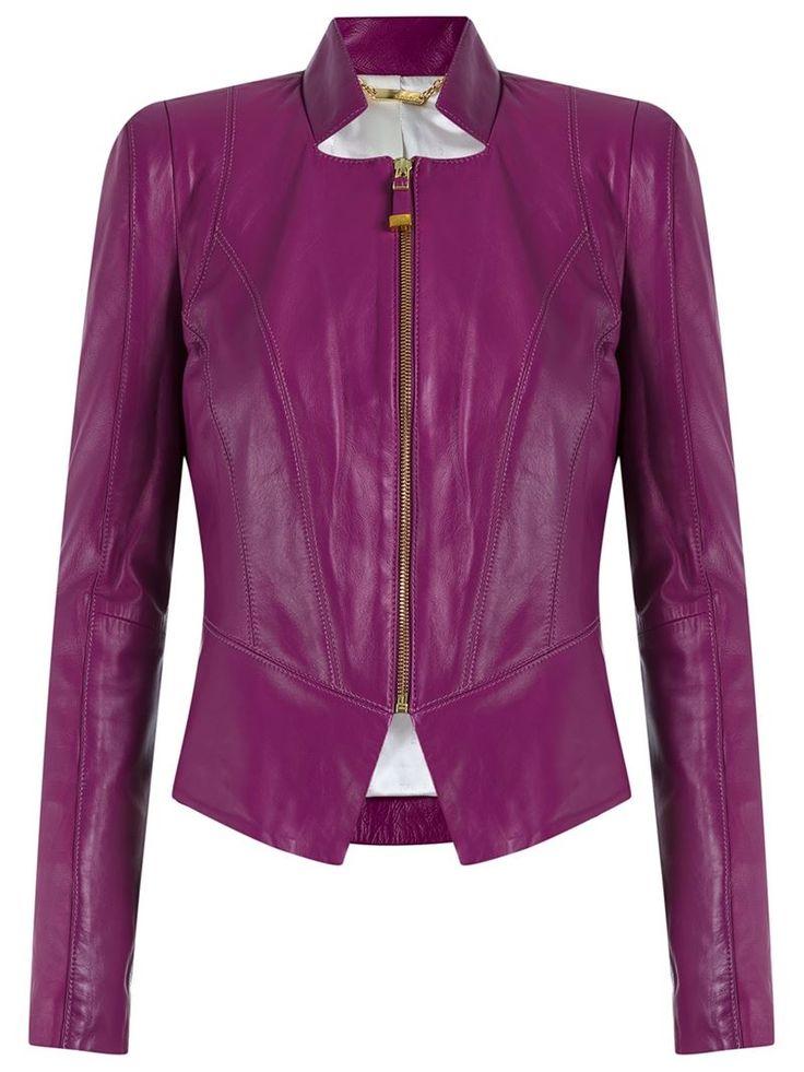 ¡Cómpralo ya!. Tufi Duek Leather Jacket. Purple leather jacket from Tufi Duek featuring a round neck and a front zip fastening. Talla: 46. Color: Rosa y Púrpura. Sexo: Mujer. Material: Cuero. , chaquetadecuero, polipiel, biker, ante, antelina, chupa, decuero, leather, suede, suedette, fauxleather, chaquetadecuero, lederjacke, chaquetadecuero, vesteencuir, giaccaincuio, piel. Chaqueta de cuero  de mujer   de Tufi Duek.