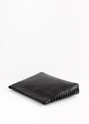 Leather side stitch clutch