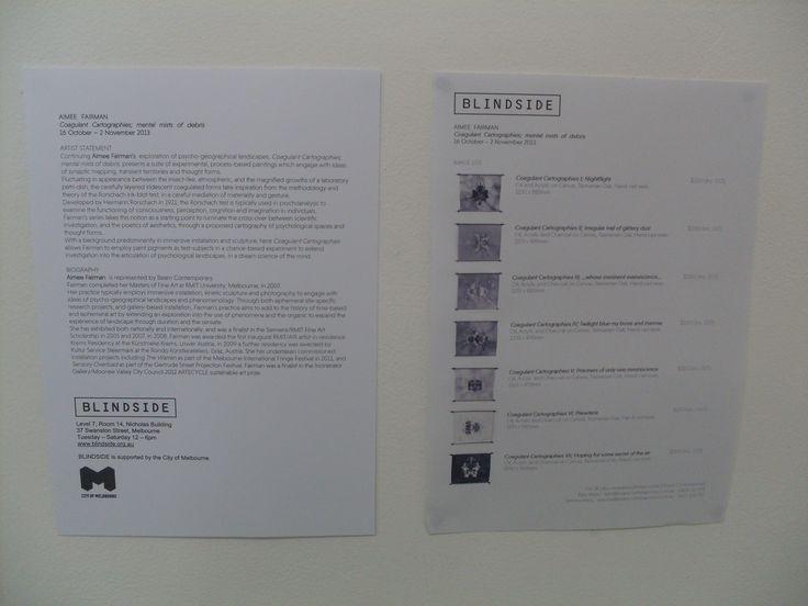 Blindside Gallery information sheet