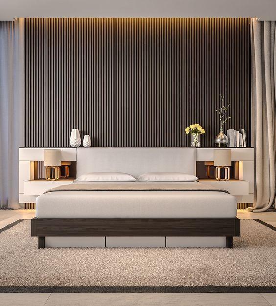 Ultra-modern bedroom with mid-century feel     www.bocadolobo.com #bedroomdecorideas #bedroomdecor #masterbedroom #masterbedroomideas #minimalistbedroom #luxurybedroom #dreambedroom