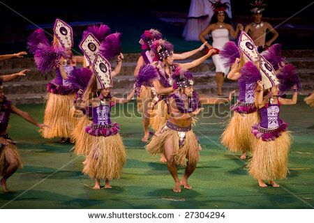 LA'IE, HI - JULY 26: Students perform Tahitian dance at the Polynesian Cultural Center (PCC) July 26th, 2008 in La'ie, HI. The PCC is Hawai'i top paid attraction and supports BYU students. - stock photo