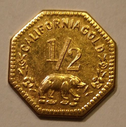 USA, CALIFORNIA GOLD RUSH, GOLD 1852 -HALF DOLLAR This tiny gold coin is about half the diameter of a dime.