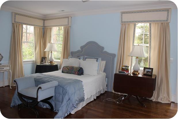 Master bedroom cream & blue ribbon cornices - DIY  -The Pink Elephant