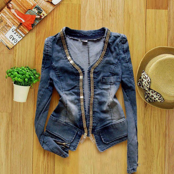 cadenas de moda denim chaqueta chaqueta de manga larga ms el tamao de las mujeres de jean de mezclilla ropa de abrigo mujer top