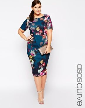 We love this floral print scuba bodycon dress from Asos Curve - perfect for a wedding or smart work function.