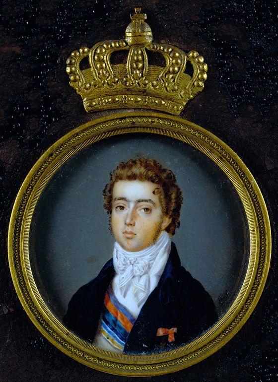 Retrato Miniatura do Príncipe Dom Pedro de Alcântara. Pintado por Goulu no Rio de Janeiro em 1817. ©DGPC/ADF