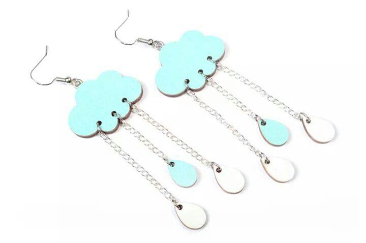 Clouds and raindrops earrings by Mintapalinta | mintapalinta.etsy.com