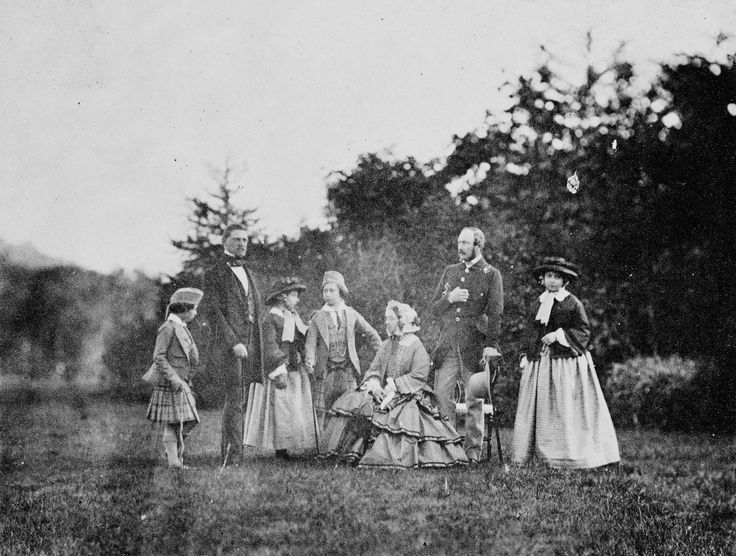 Group photograph of Queen Victoria and Prince Albert with their four eldest children, Balmoral, 1855 | Royal Collection Trust