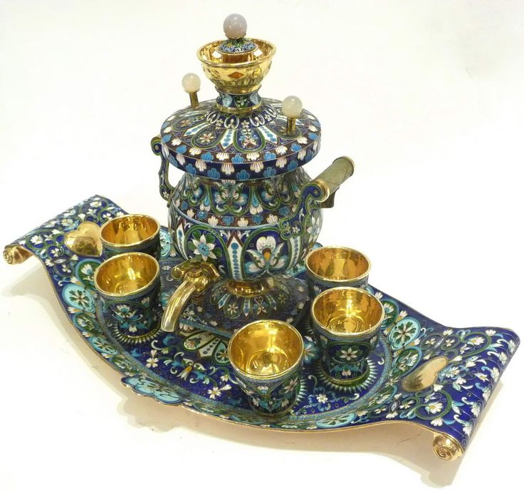 Russian Silver & Enamel - Blue Vertical Samovar with tray & six Cups