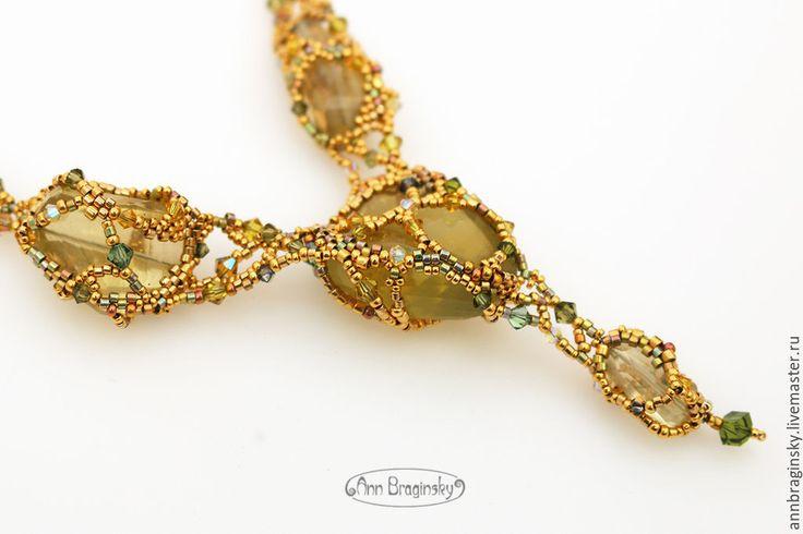 Купить Золотая сеть - лимонный, зеленый, кварц, лимонный кварц, колье, бисер, бисер японский