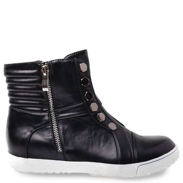 Black sneaker with white sole and black metallic detail.