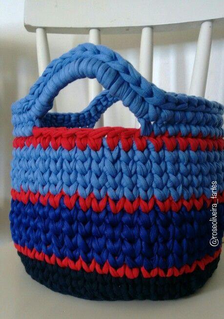 Tecendo Artes em Crochet: Cesto com Fio de Malha com Gráfico do Ponto e Dicas! …