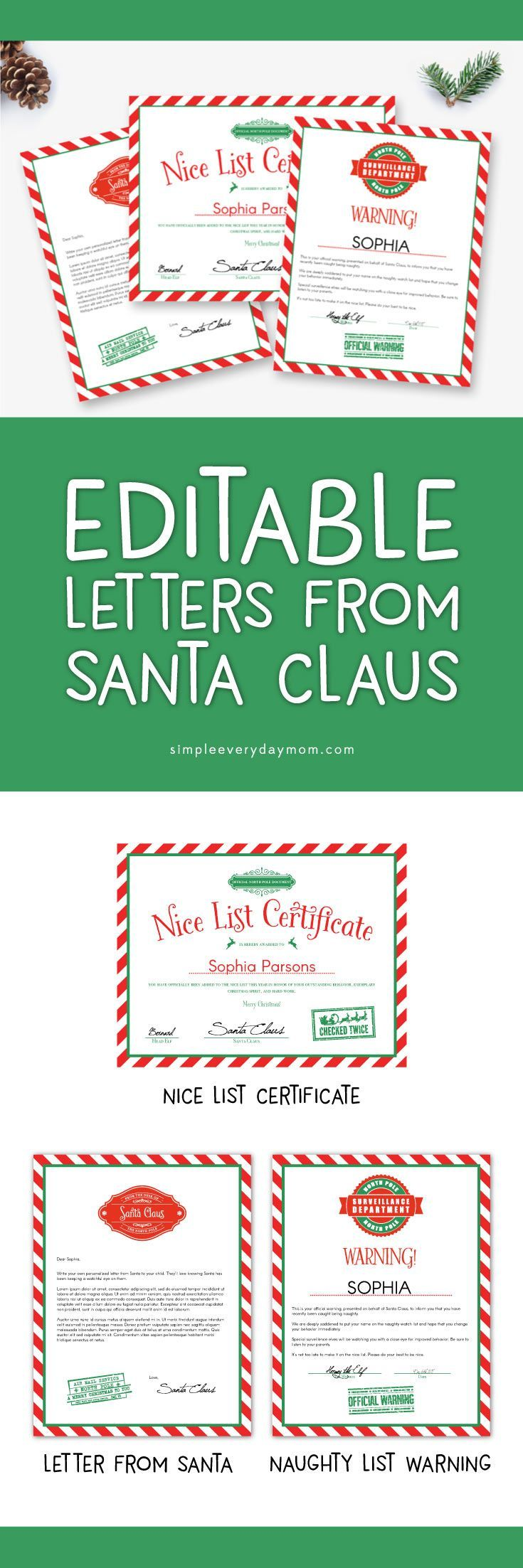 Best Letters From Santa Images On   Xmas Core French