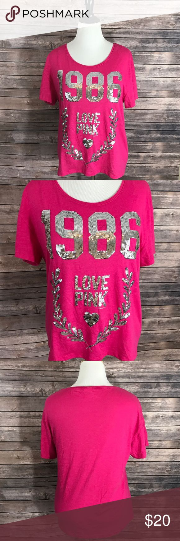 VS PINK Womens Top Sz Large Pink Silver Sequin Victorias Secret Love PINK Womens Top Sz Large Pink Silver Sequin 1986 Tee Shirt. Measurements: (in inches) Underarm to underarm: 21 Length: 25  Good, gently used condition PINK Tops Tees - Short Sleeve