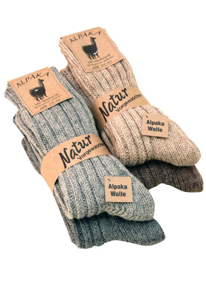 2 Paar Alpaka Socken Wollsocken dünn und dick gestrickte Wintersocken Gr. 35-50