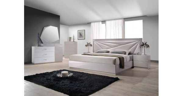 The Florence BedroomThe Florence bedroom by J&M speaks volumes through simplistic details. The modern design made with artistic  array of angles features a beautiful white & light grey lacquer finish & a elegant leatherette headboard.Dimensions: King Bed