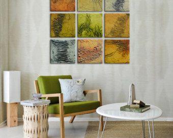 Pintura abstracta original, marrón anaranjado de la pintura pintura, pintura texturizada, conjunto de 9 paneles, instalación de pared grande, grande del arte moderno