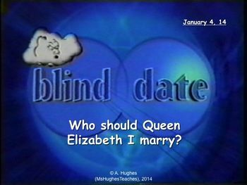 Who should Queen Elizabeth I marry?  This lesson uses Blind Date to nab Elizabeth a  eligible bachelor... If she even wants one!   A fun way to teach this to teach this topic on the Tudors...
