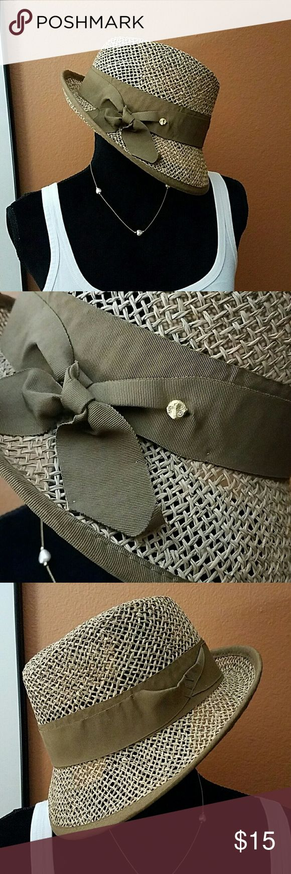 Awesome Straw Fedora with gold hat pin Straw Fedora..tag has been removed so I don't know the designer..very well made..excellent like new condition! Accessories Hats