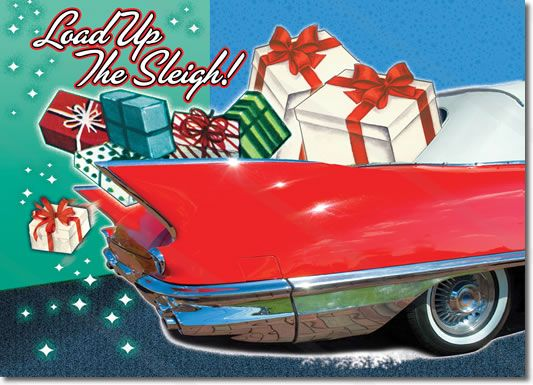 This classic car christmas card features a red vintage