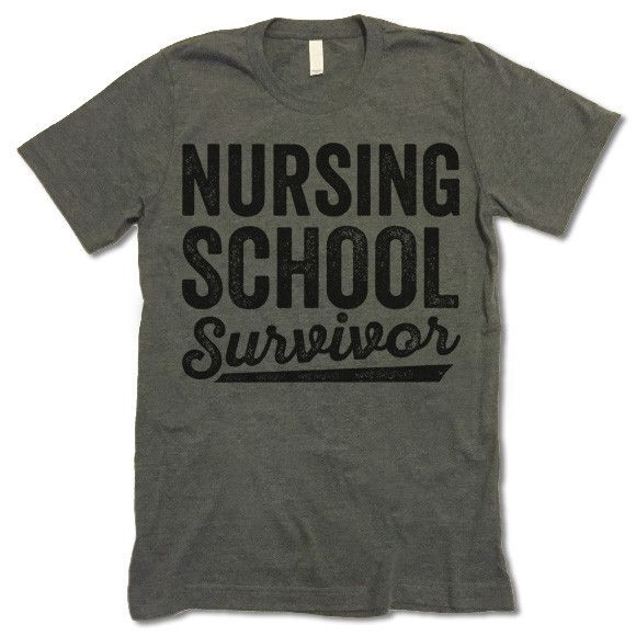 Nursing School Survivor Shirt. The listing is for one short-sleeve UNISEX crewneck t-shirt with 'Nursing School Survivor' design. Please refer to the size chart below (laying flat measurements in inch