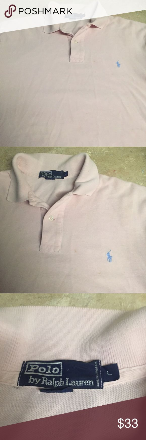 Ralph Lauren Polo Shirt It's a brand new Ralph Lauren Polo Mesh that's a Large and very Light Pink with a Blue Pony. Rare Ralph Lauren Shirts Polos