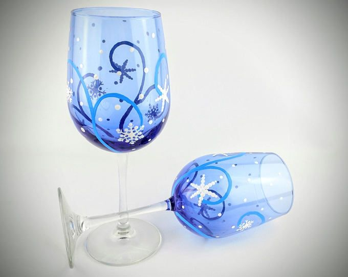 Winter snowflake painted wine glasses, decorated with snow flakes on blue wine glass, winter theme snowflake wine glasses