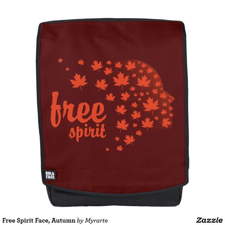 Free Spirit Face, Autumn. Producto disponible en tienda Zazzle. Accesorios, moda. Product available in Zazzle store. Fashion Accessories. Regalos, Gifts. #mochila #backpack