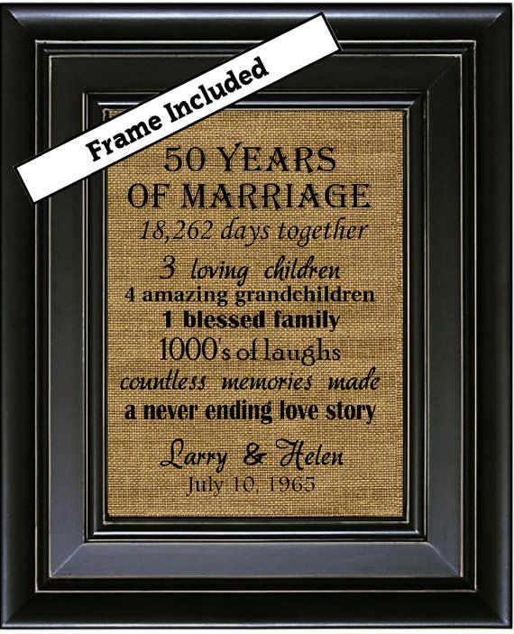 For Sale is an 10x13 or 8 x 10 50th Anniversary Personalized Framed Burlap Wall Hanging. The wall hanging comes ready to hang in one of our