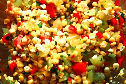 Corn Succotash Cheesecake Factory Recipe...I adapted this a bit; added a bit of sugar, more hot sauce, and don't add the cilantro, as it usually goes to waste when I buy it